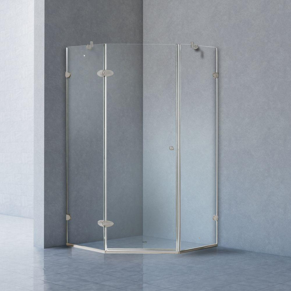 Verona 40 in. x 73.375 in. Frameless Neo-Angle Shower Enclosure in Brushed Nickel with Clear Glass