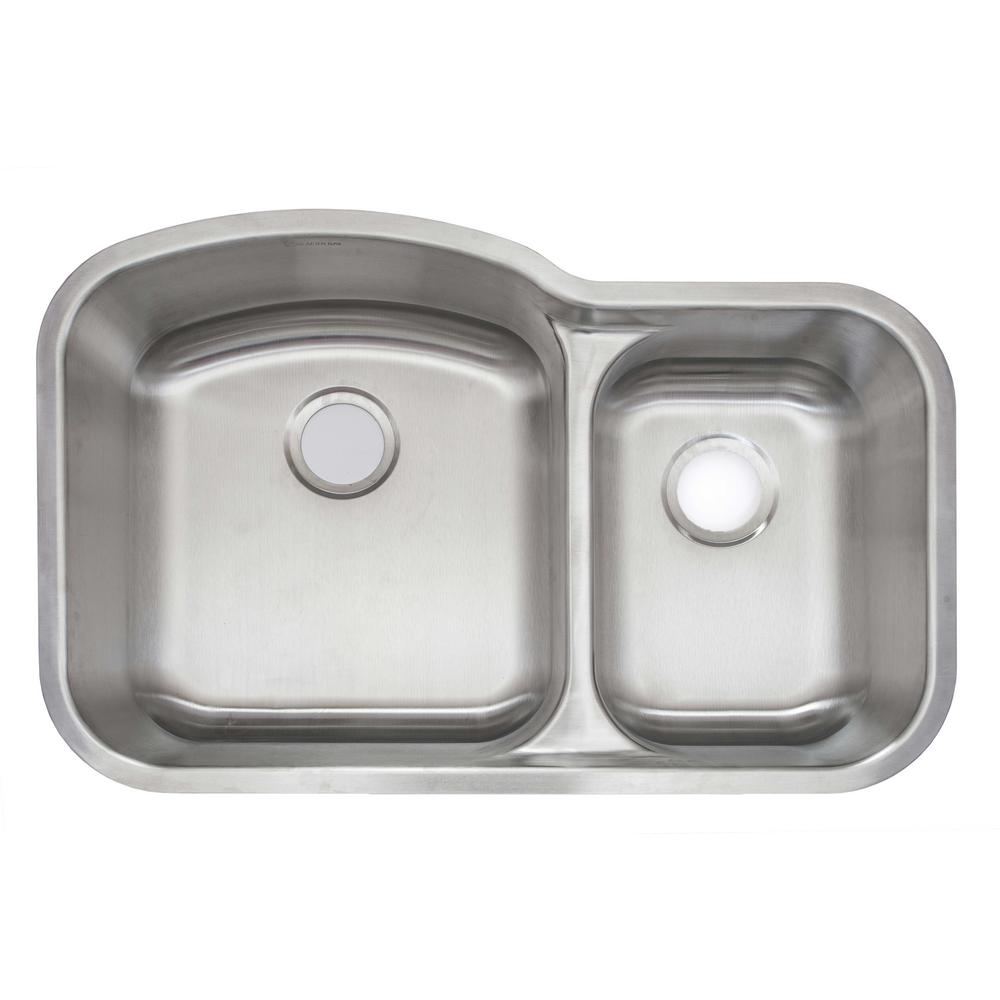 AIO Undermount Stainless Steel 32 in. Double Bowl Kitchen Sink