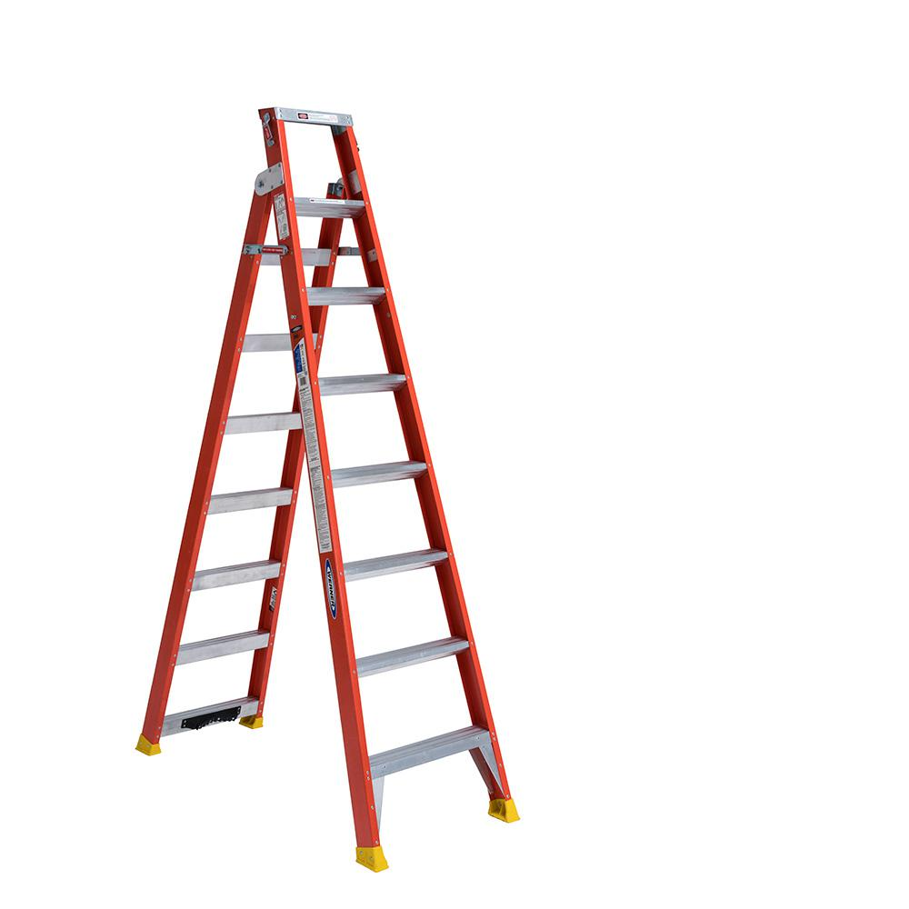 17 ft. Reach Fiberglass 2-in-1 Dual Purpose Ladder with 300 lbs.
