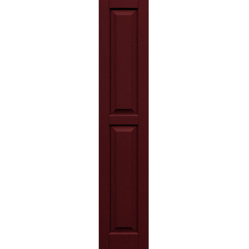 Winworks Wood Composite 12 in. x 62 in. Raised Panel Shutters Pair #650 Board and Batten Red