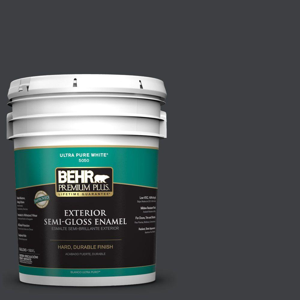 5-gal. #HDC-MD-04 Totally Black Semi-Gloss Enamel Exterior Paint