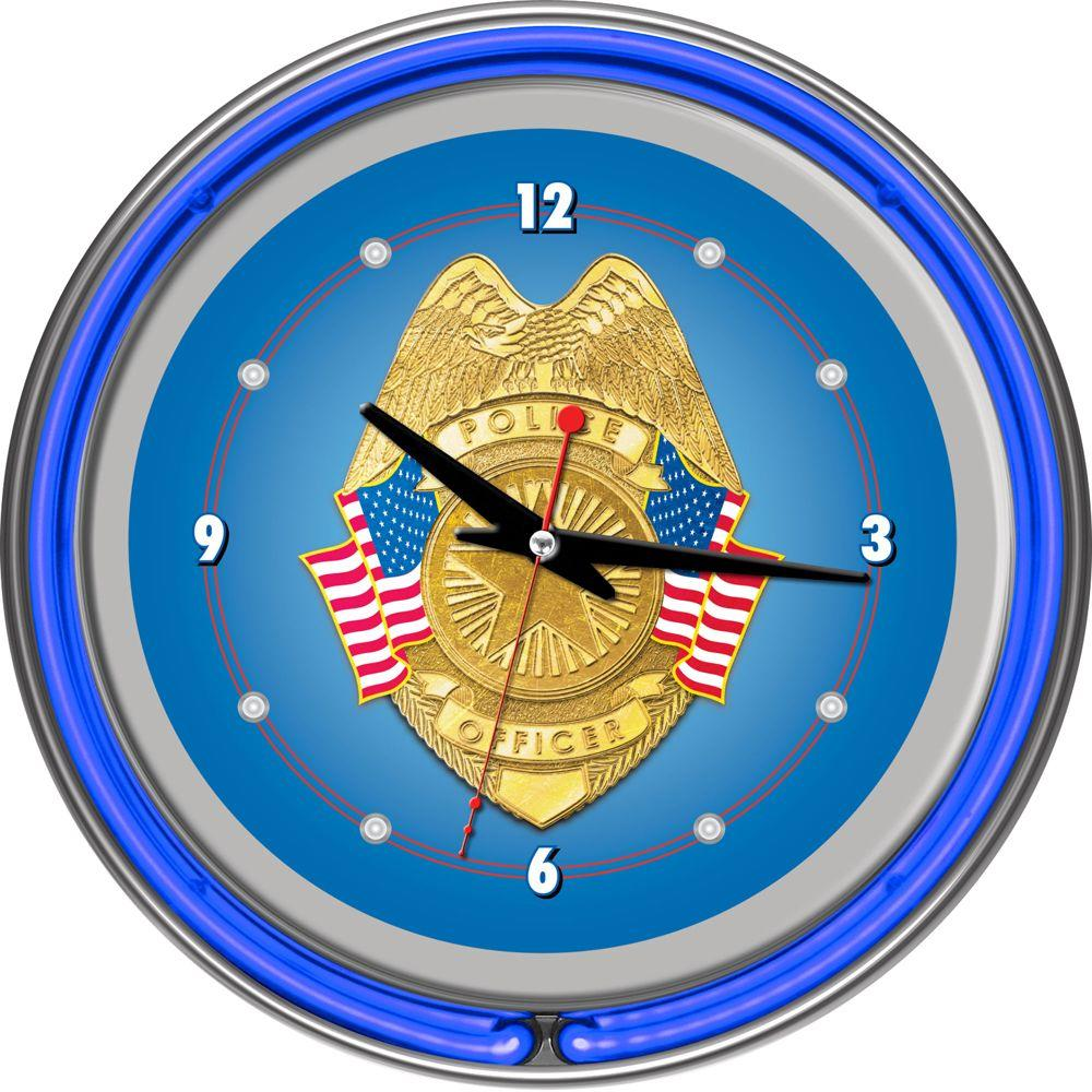 14 in. Police Officer Chrome Double Ring Neon Wall Clock