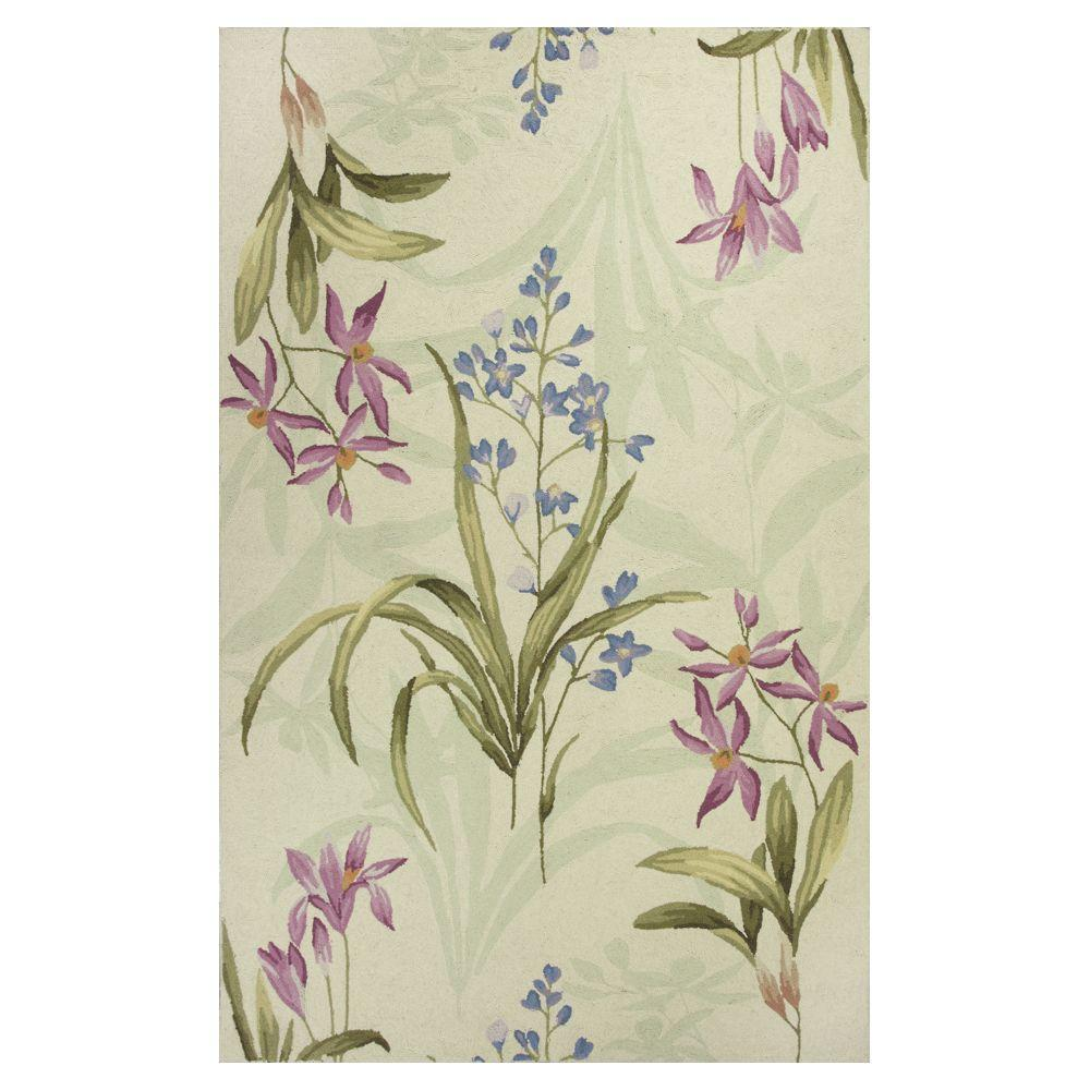 Kas Rugs Mosaic Whimsey Ivory/Blue 2 ft. 6 in. x 4 ft. 2 in. Area Rug