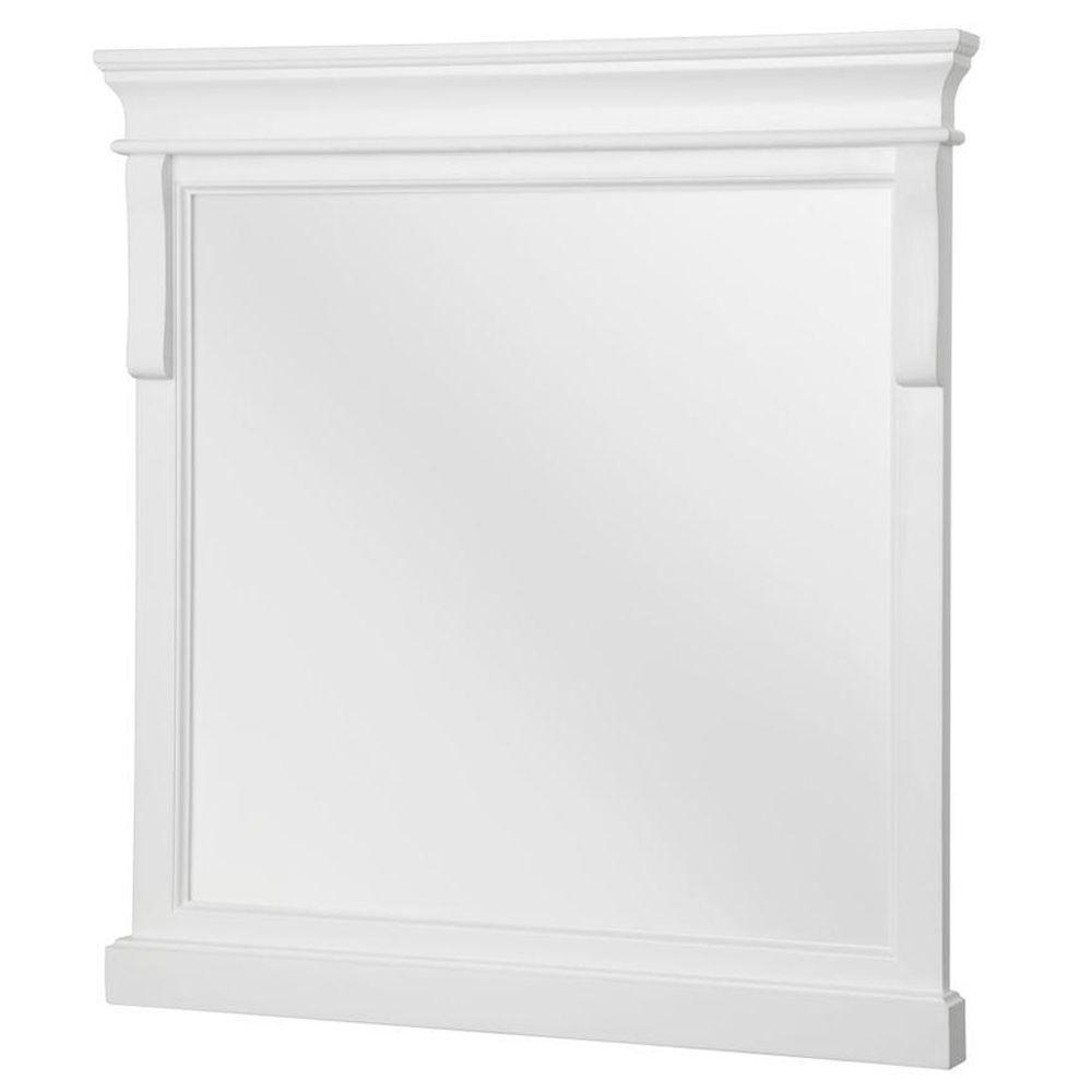 Foremost Naples 24 in. W x 32 in. H Single Framed Wall Mirror in White