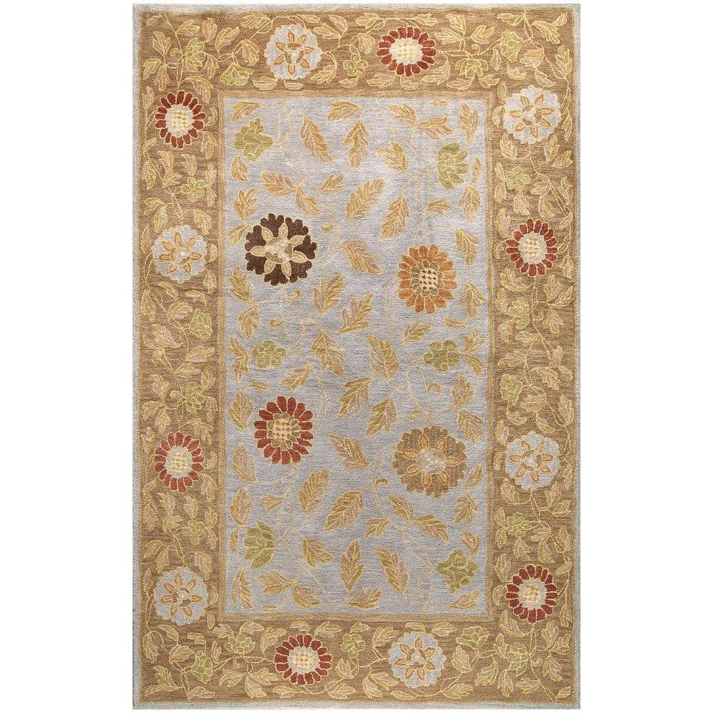 BASHIAN Wilshire Collection Floral Leaf Light Blue 7 ft. 9 in. x 9 ft. 9 in. Area Rug