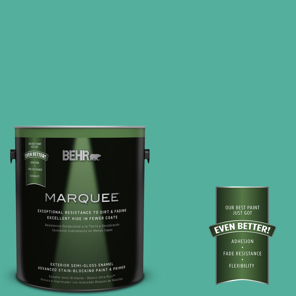 BEHR MARQUEE 1-gal. #P440-5 Water Park Semi-Gloss Enamel Exterior Paint-545401 -