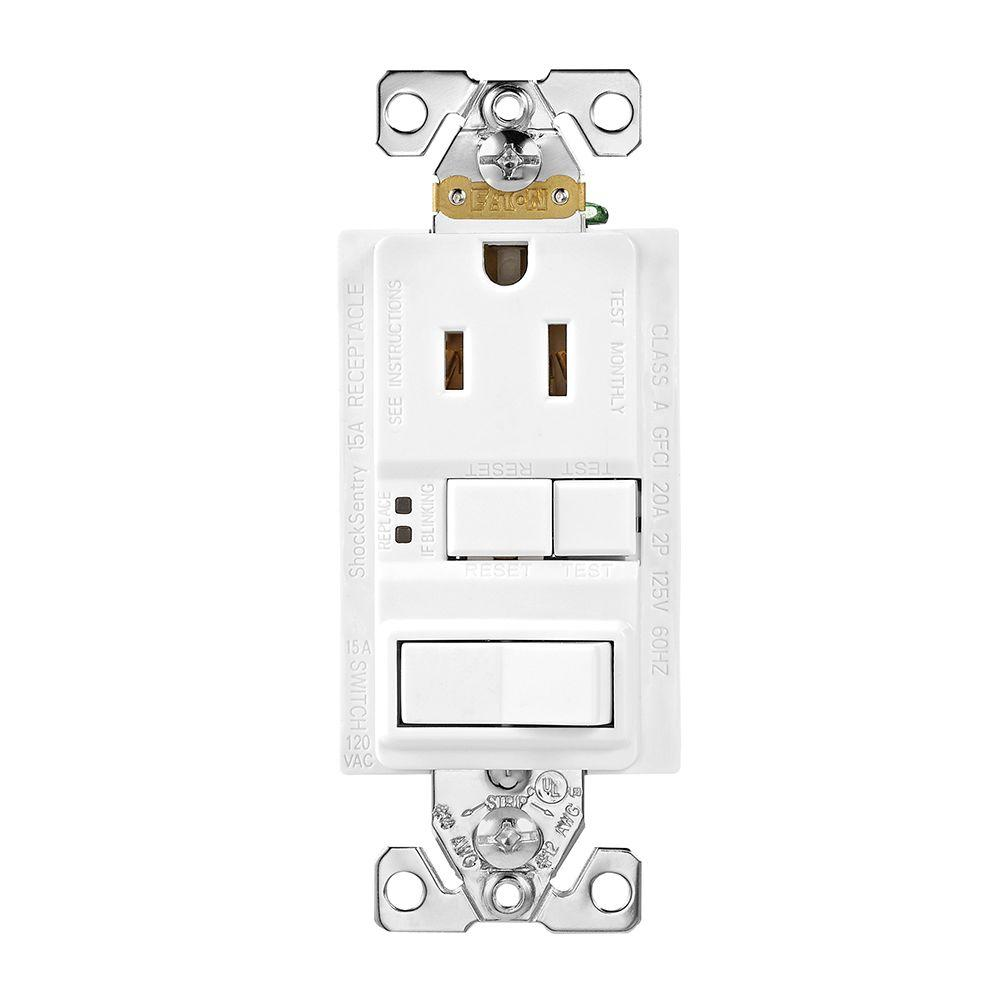 GFCI Self-Test 15A -125V Receptacle with Switch with Mid-Size Wallplate, White