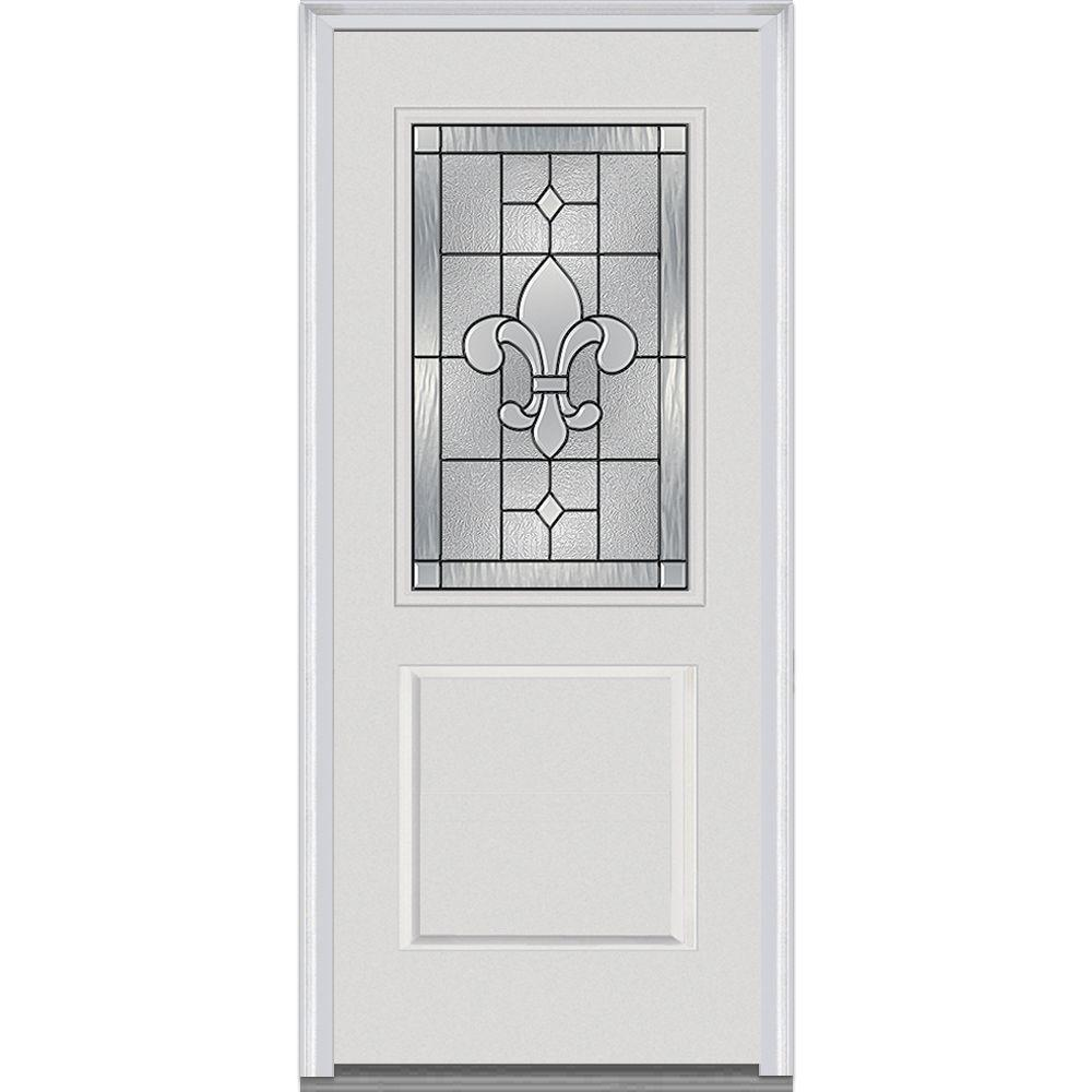 37.5 in. x 81.75 in. Carrollton Decorative Glass 1/2 Lite Painted