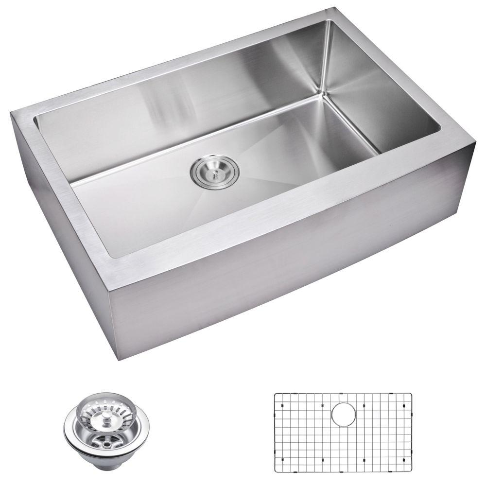 Farmhouse Apron Front Small Radius Stainless Steel 33 in. Single Bowl