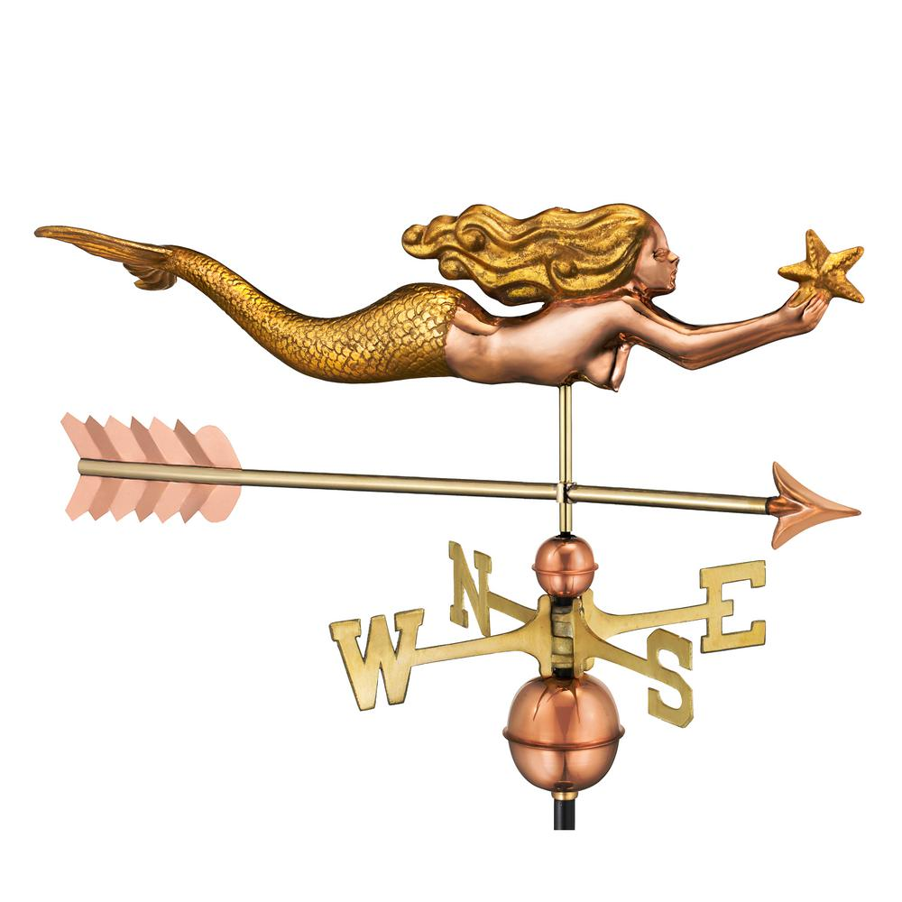 Mermaid with Starfish and Arrow Weathervane-Pure Copper with Golden Leaf Finish