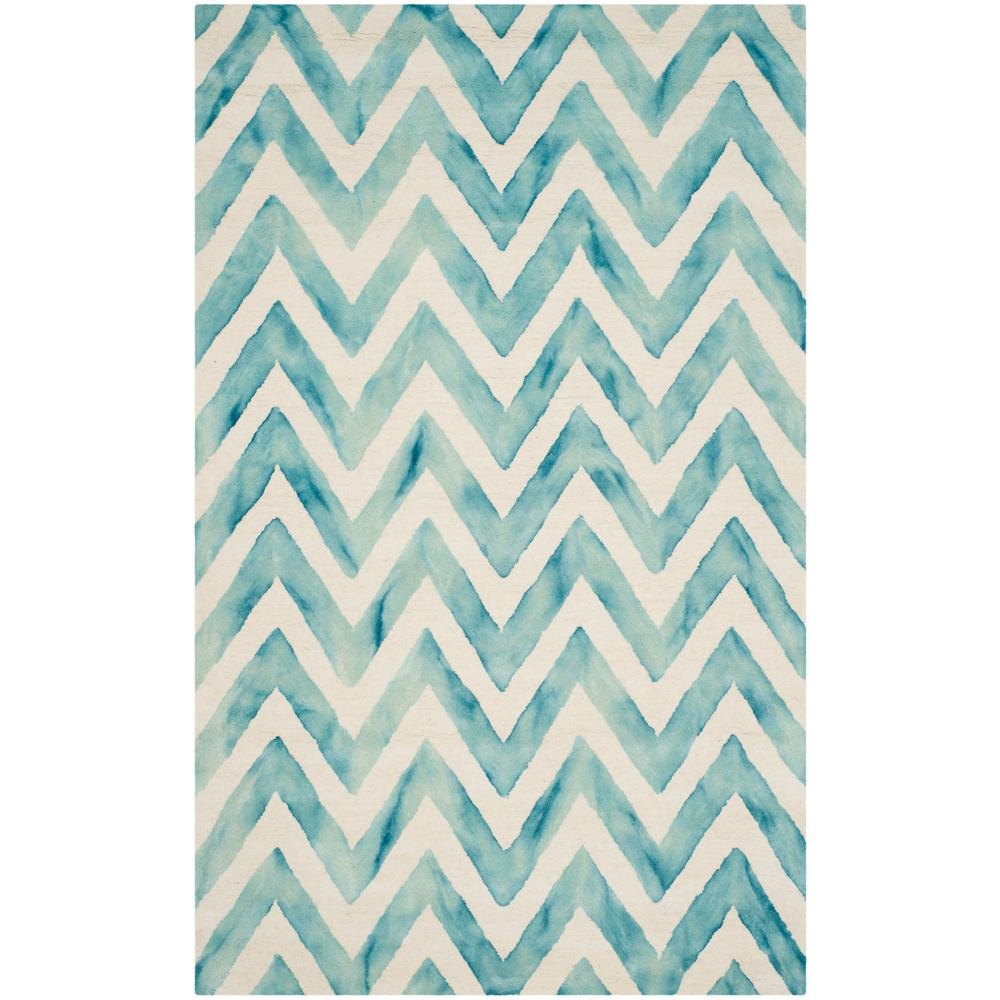 Dip Dye Ivory/Turquoise 5 ft. x 8 ft. Area Rug