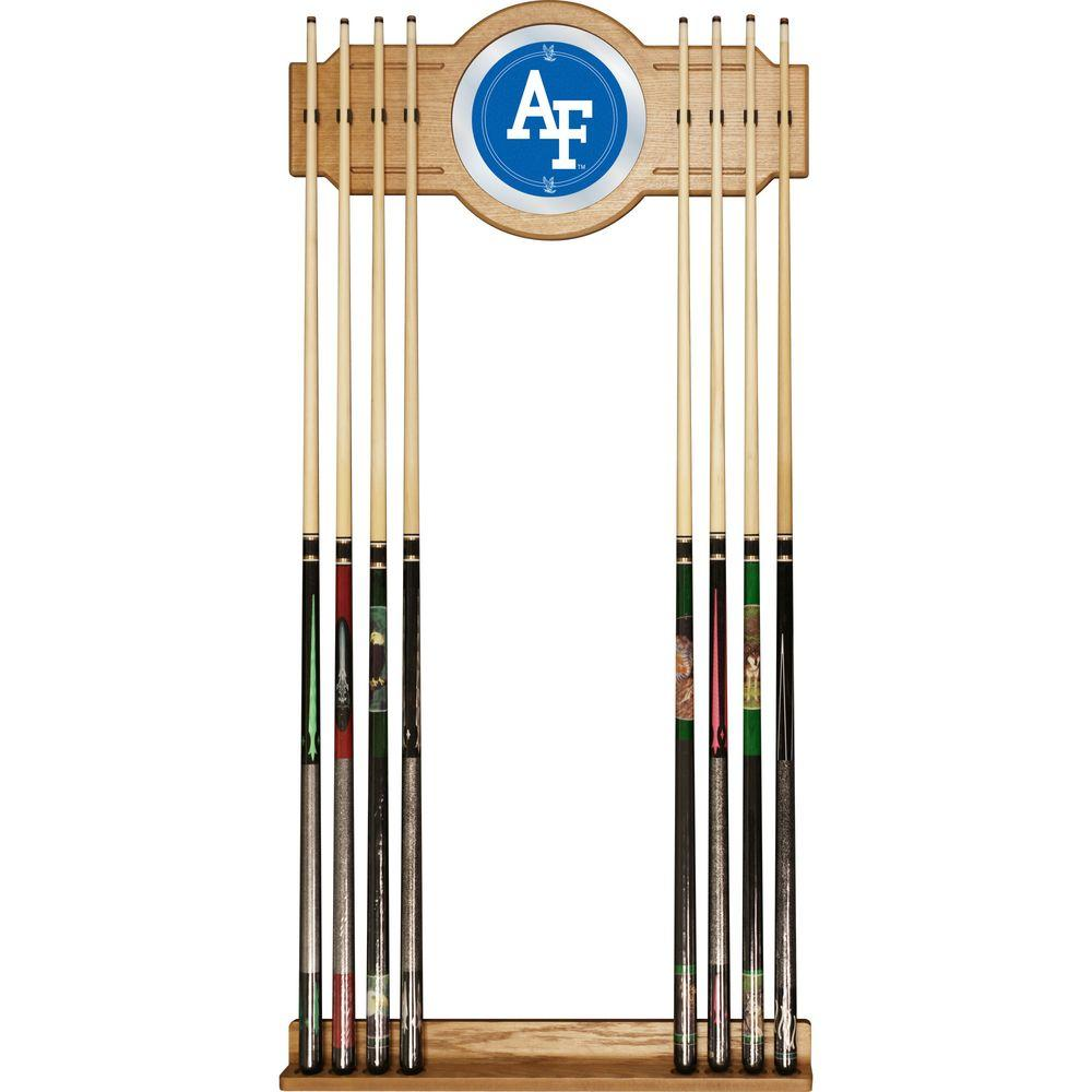 Air Force Falcons 30 in. Wooden Billiard Cue Rack with Mirror