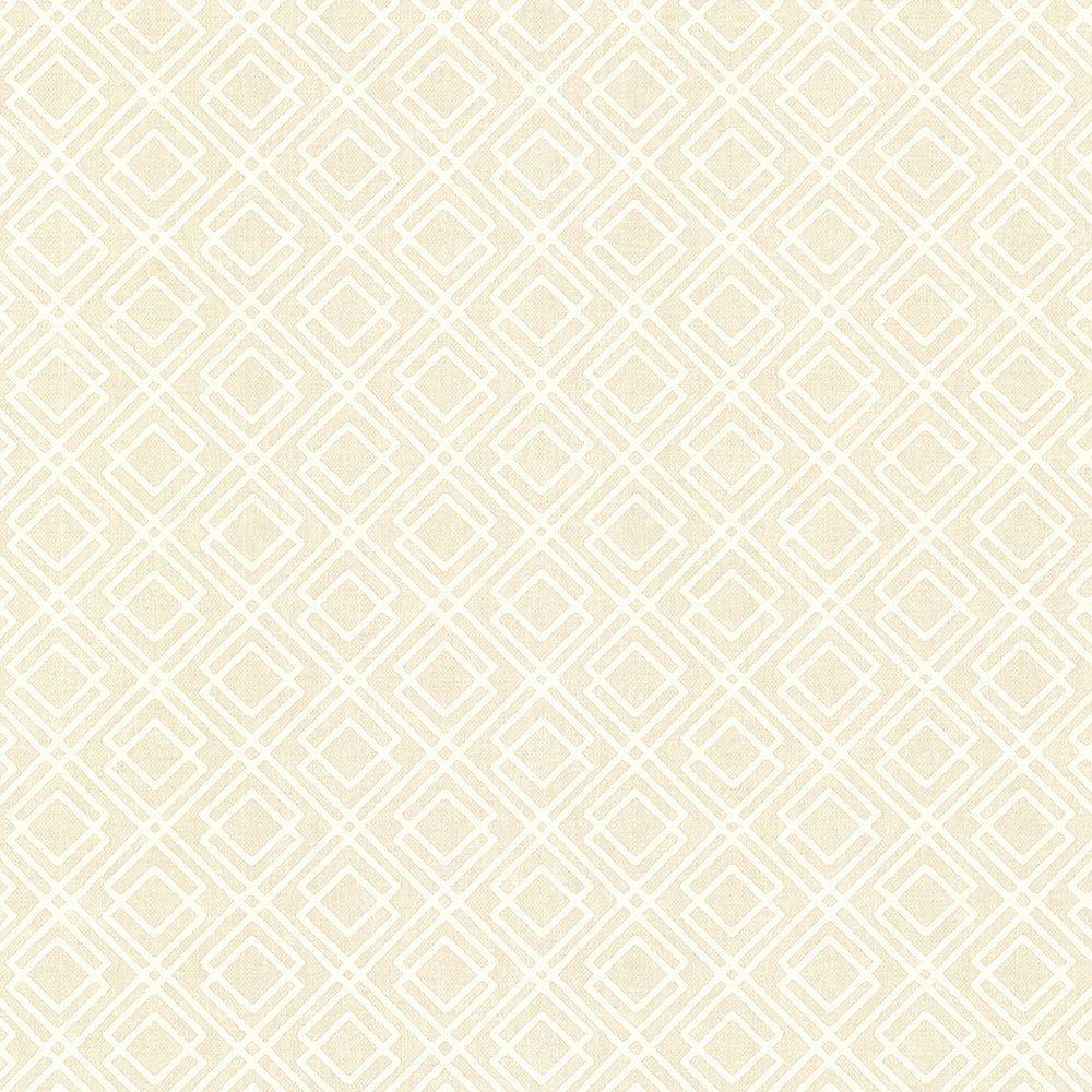 8 in. W x 10 in. H Milly Beige Lattice Wallpaper Sample