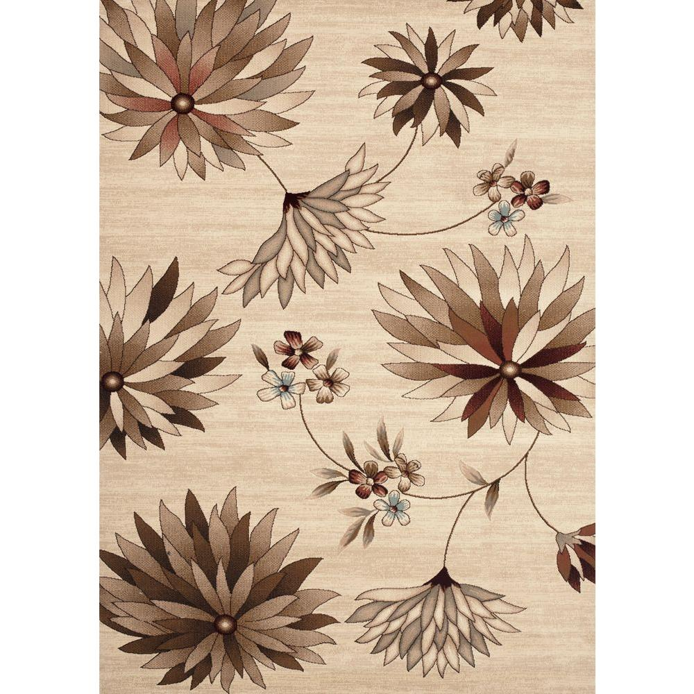 World Rug Gallery Manor House Beige/Floral 5 ft. 3 in. x 7 ft. 3 in. Area Rug