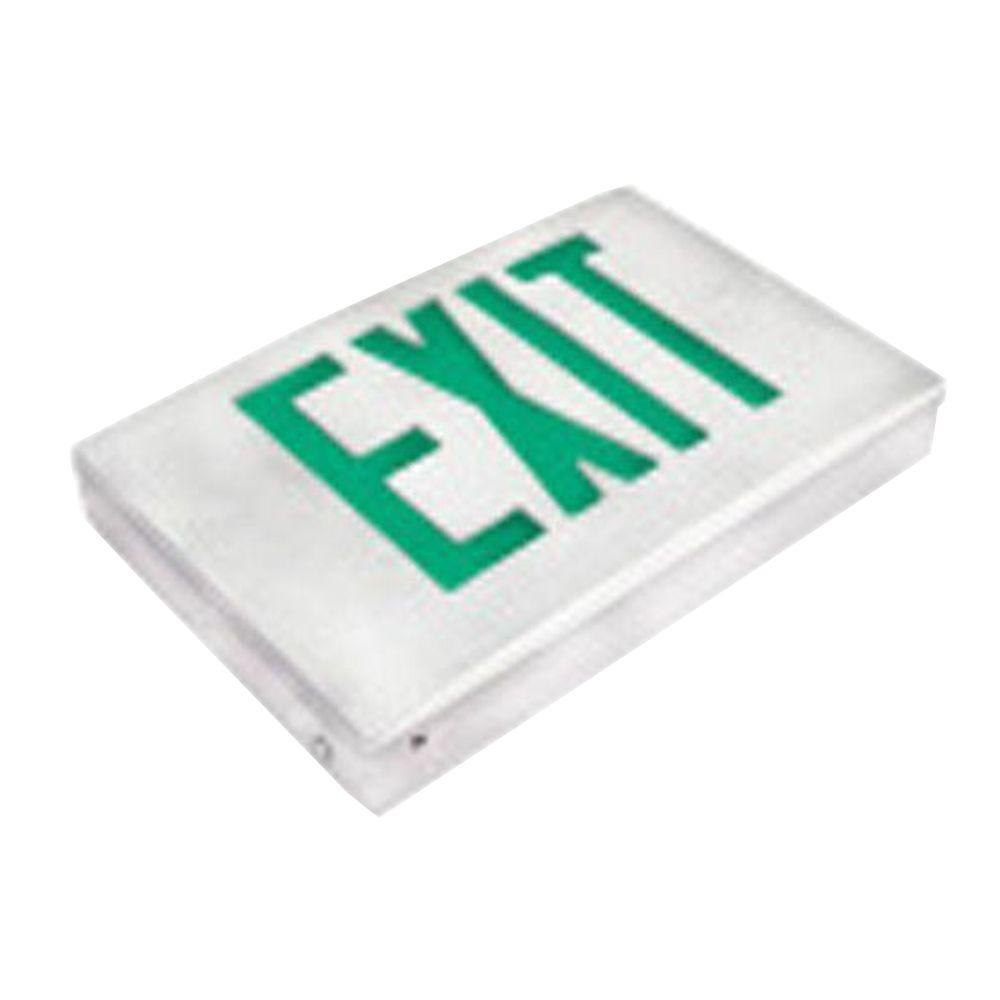 Filament Design Nexis 1-Light Thermoplastic LED Universal Mount White with Green Emergency Exit Sign