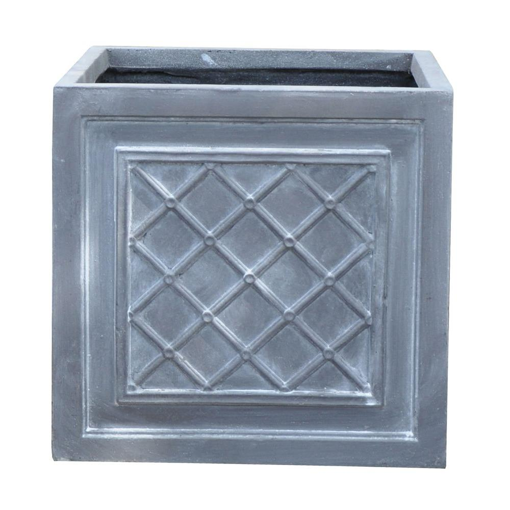 12 in. Cross Weave Wash Grey Cube Fiber-Clay Planter