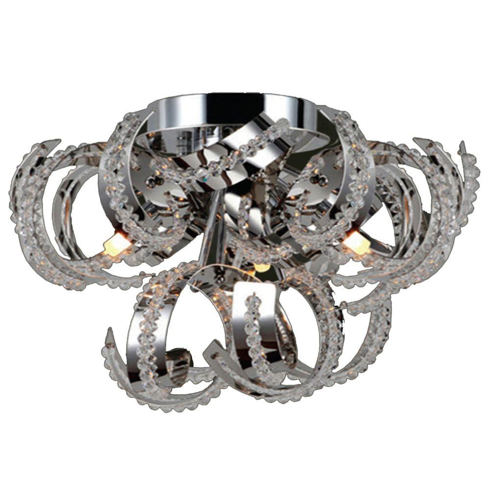 Medusa Collection 9-Light Chrome and Crystal Ceiling Light