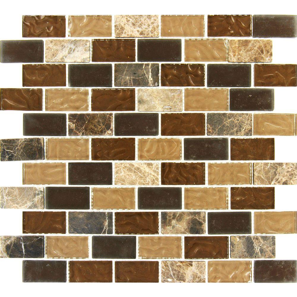 MS International Sonoma Blend 12 in. x 12 in. x 8 mm Glass Stone Mesh-Mounted Mosaic Tile
