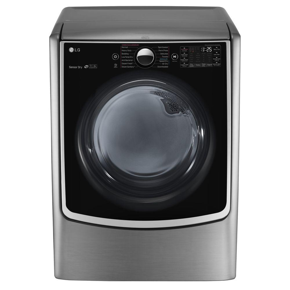LG 7.4 cu. ft. Electric Dryer with Steam in Graphite Stee...