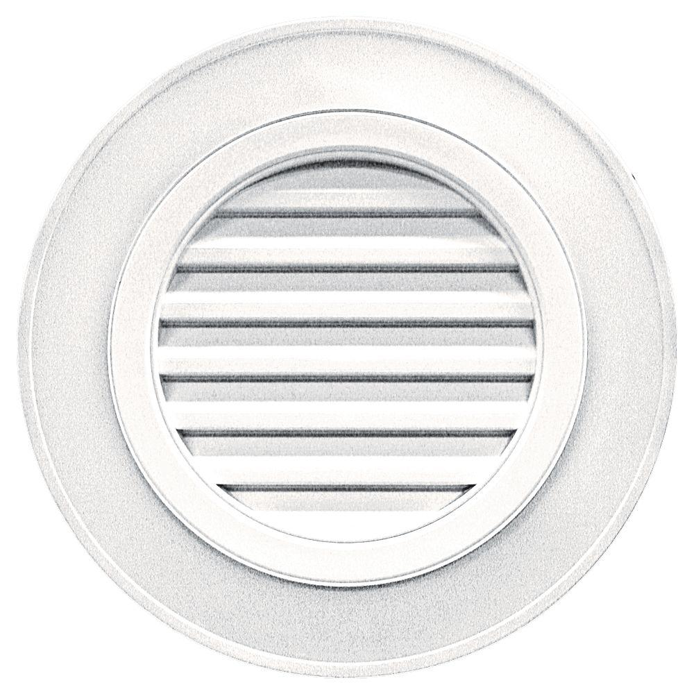 28 in. Round Gable Vent in Bright White (without Keystones)