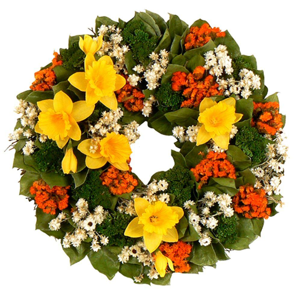 The Christmas Tree Company Dazzling Daffodils 16 in. Dried Floral Wreath-DISCONTINUED