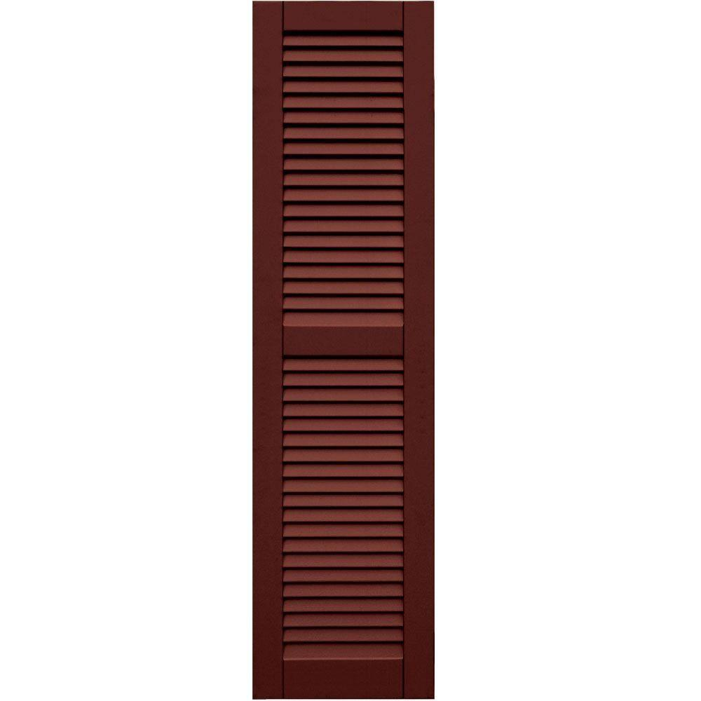 Winworks Wood Composite 15 in. x 58 in. Louvered Shutters Pair #650 Board and Batten Red