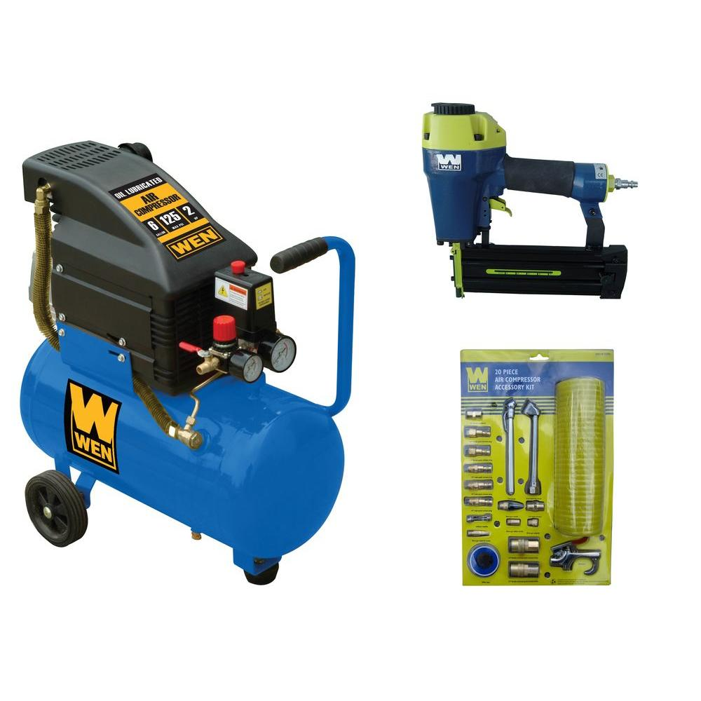 WEN 6 gal. Compressor with Finish Nailer and Air Accessory Combo Kit