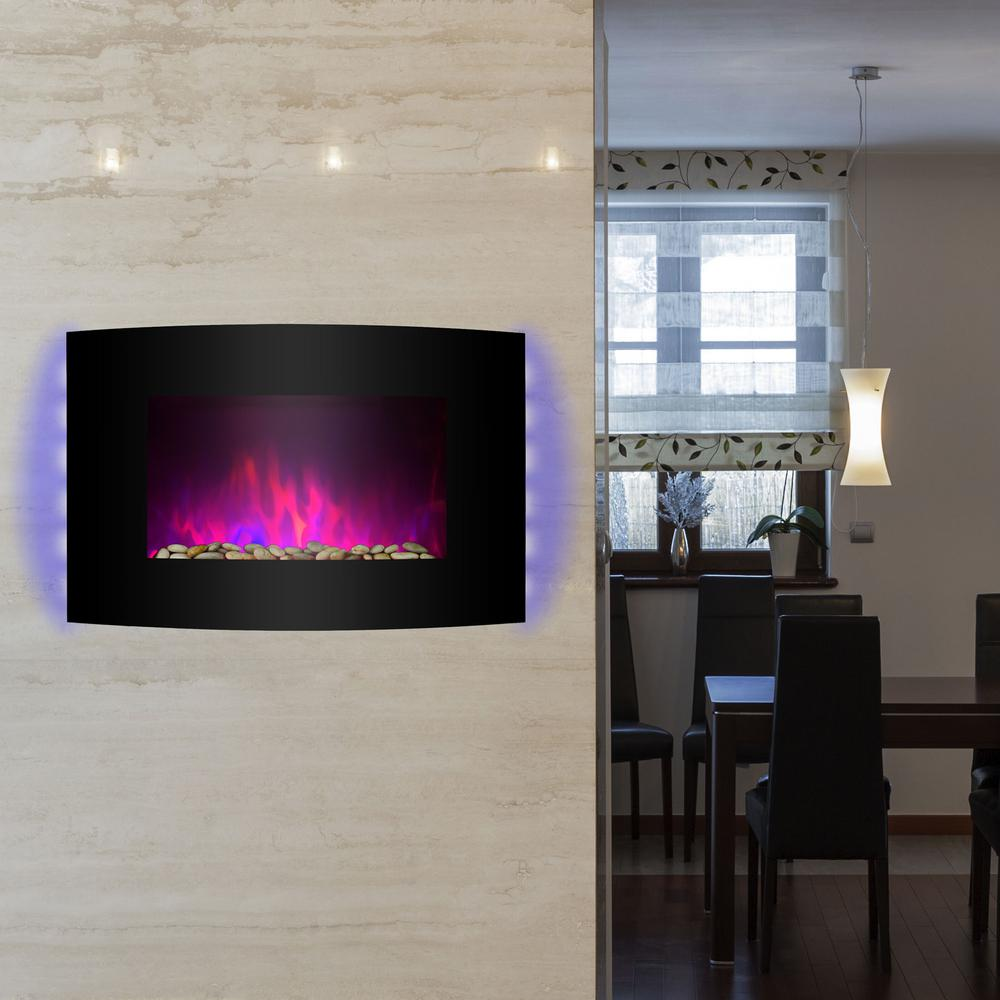 Akdy 36 In Wall Mount Electric Fireplace Heater In Black With Curved Tempered Glass Pebbles