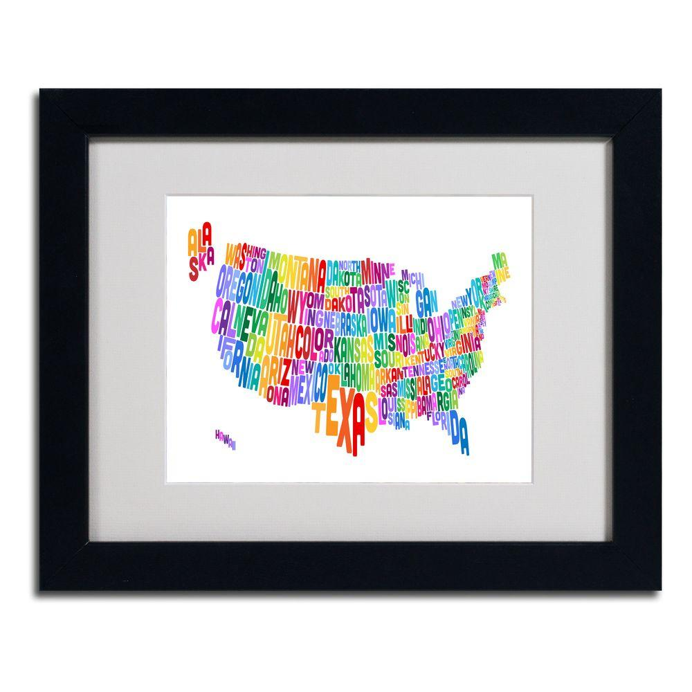 Trademark Fine Art 11 in. x 14 in. USA States Text Map 3 Matted Framed Art
