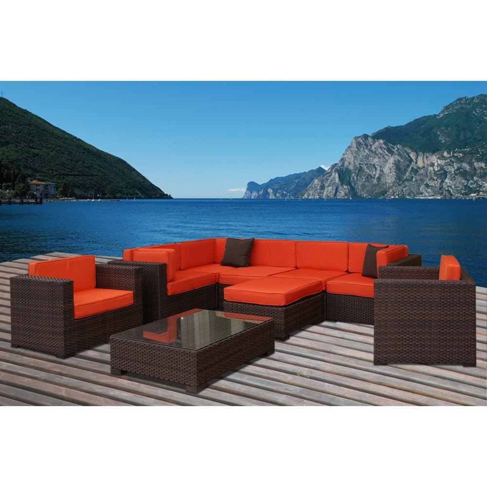 null Southampton 9-Piece Patio Sectional Seating Set with Orange Cushions