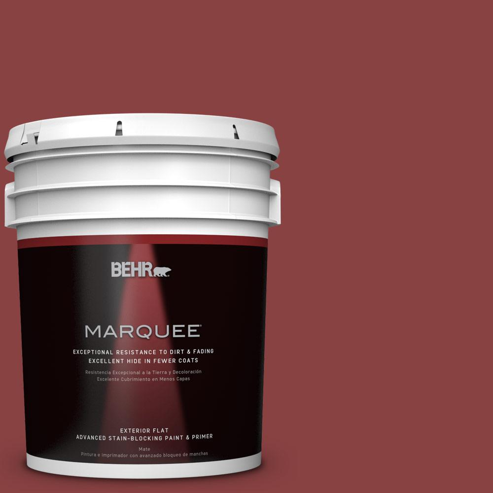 BEHR MARQUEE 5-gal. #QE-07 Country Lane Red Flat Exterior Paint-445305 -