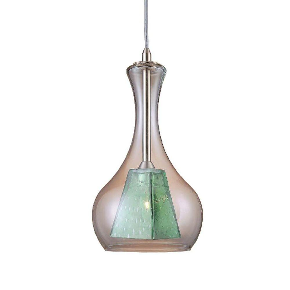 Hampton Bay 1-Light Clear/Green Double Glass Pendant