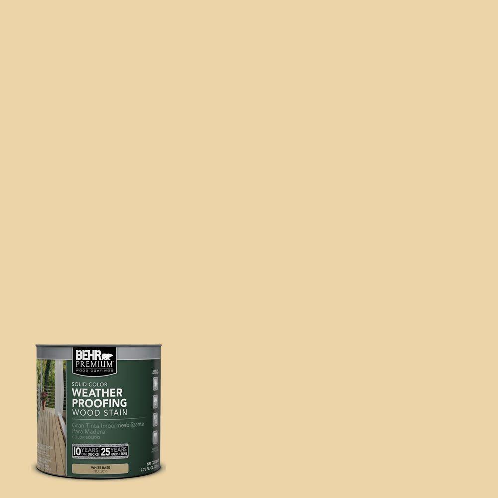 BEHR Premium 8 oz. #SC133 Yellow Cream Solid Color Weatherproofing All-In-One