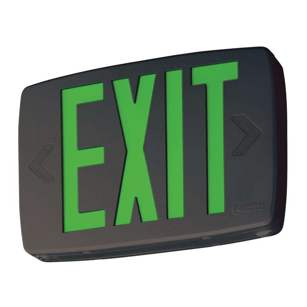 Quantum 1-Light Green Stencil 1-Watt Matte Black Integrated LED Exit Sign