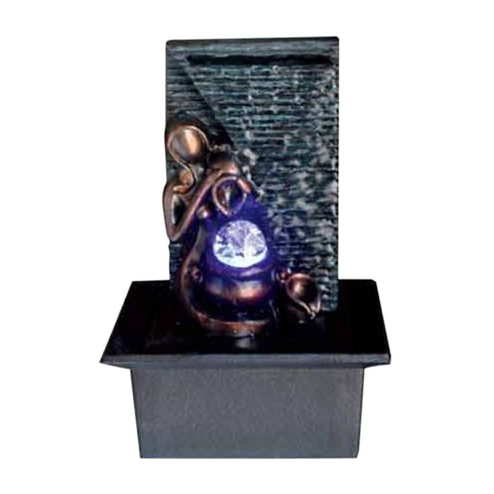 OK LIGHTING 10 in. Black Tabletop Lady Fountain