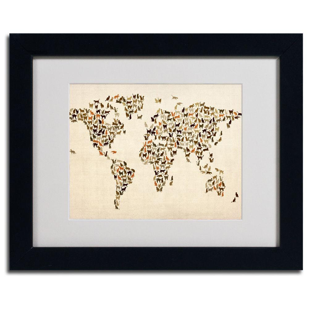 11 in. x 14 in. World Map - Cats Framed Matted