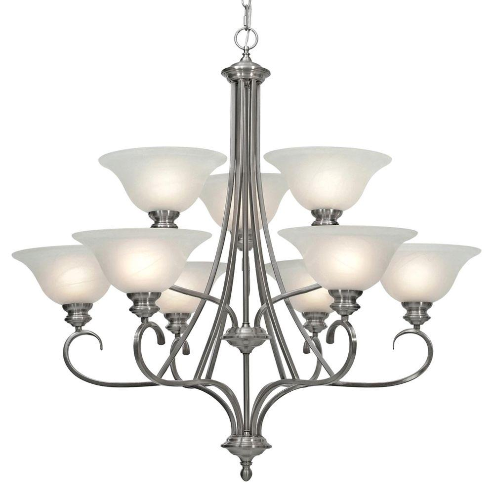 Starke Collection 9-Light Pewter 2-Tier Chandelier