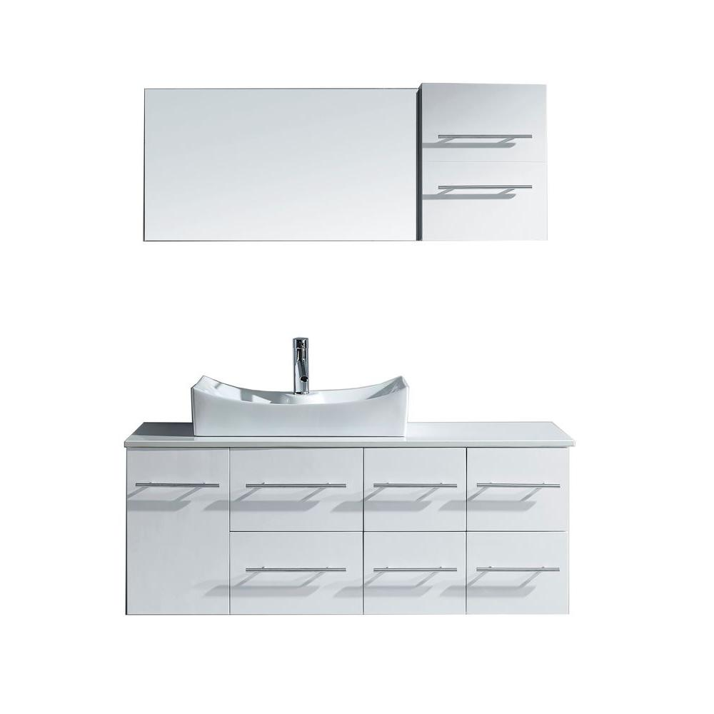 Virtu USA Counter Tops Ceanna 53 in. Vanity in White with Stone Vanity Top in White and Mirror MS-430-S-WH