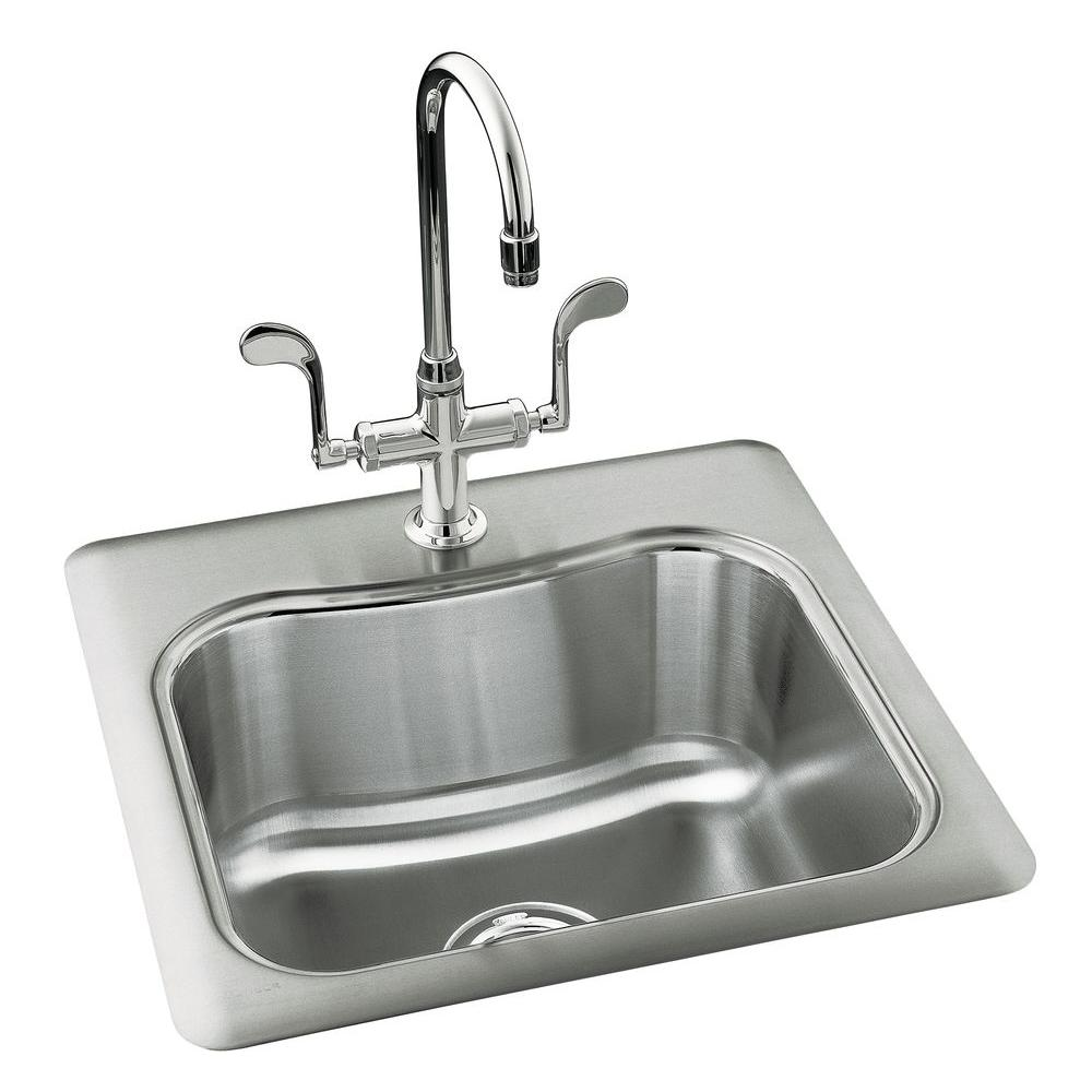 single bowl kitchen sink Staccato Drop in Stainless Steel 20 in 1 Hole Single Basin Kitchen Sink