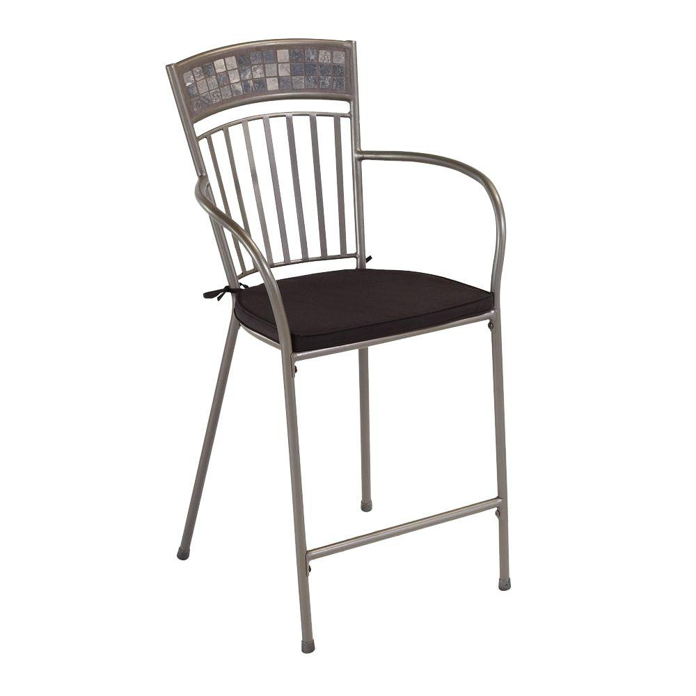 Home Styles Glen Rock Marble Patio High Dining Stool with Black Cushion