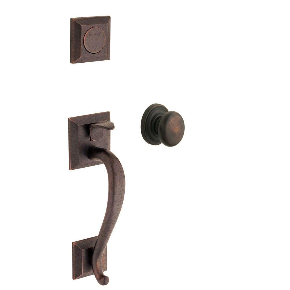 Madison Distressed Venetian Bronze Full-Dummy Handleset with Classic Knob