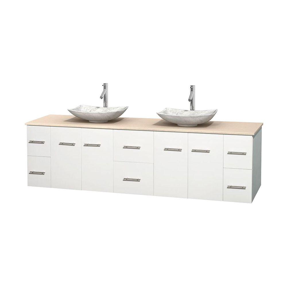 Wyndham Collection Centra 80 in. Double Vanity in White with Marble Vanity Top in Ivory and Carrara Sinks