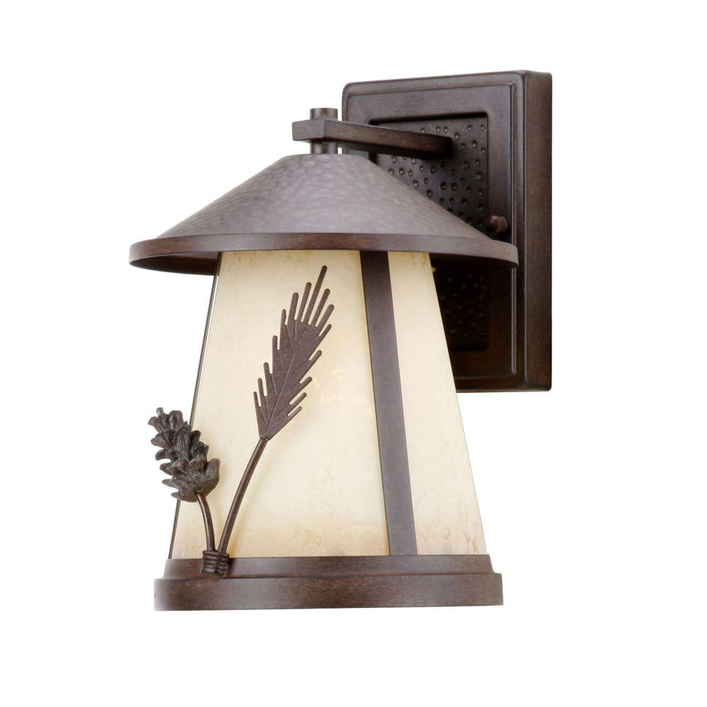 Hampton Bay Lodge 1-Light Weathered Spruce Outdoor Wall Mount Lantern
