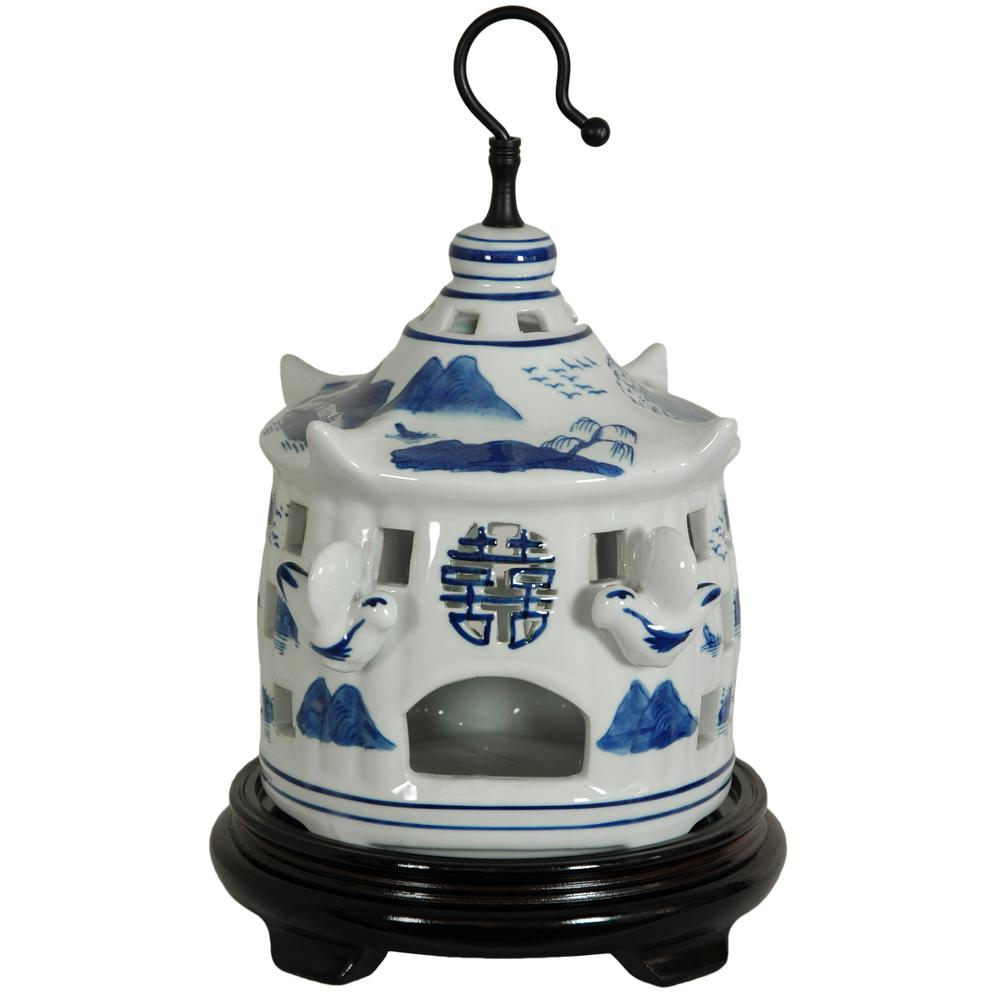 Oriental Furniture 11 in. Landscape Blue and White Porcelain Bird Cage