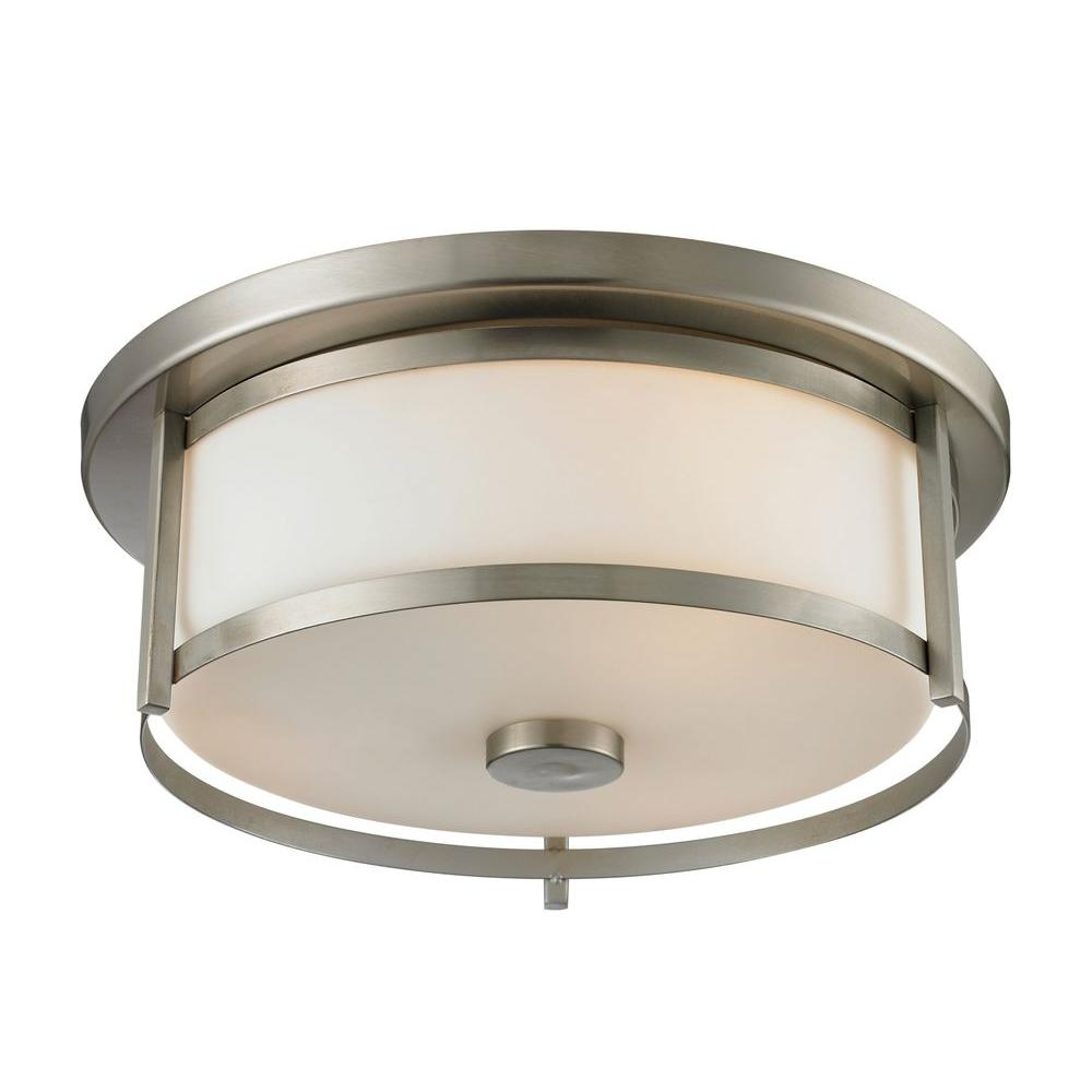 Lacy 2-Light Brushed Nickel Flushmount