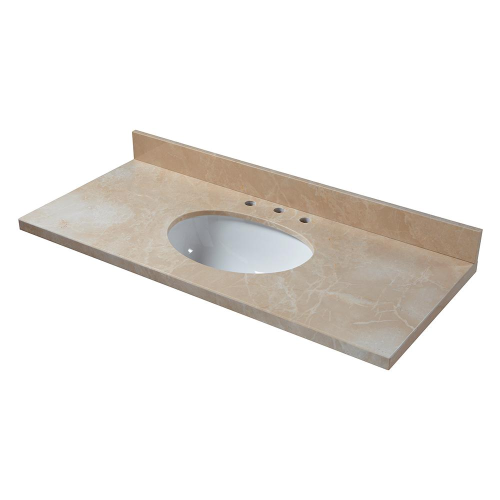 49 in. Marble Vanity Top in Crema Marfil with White Basin