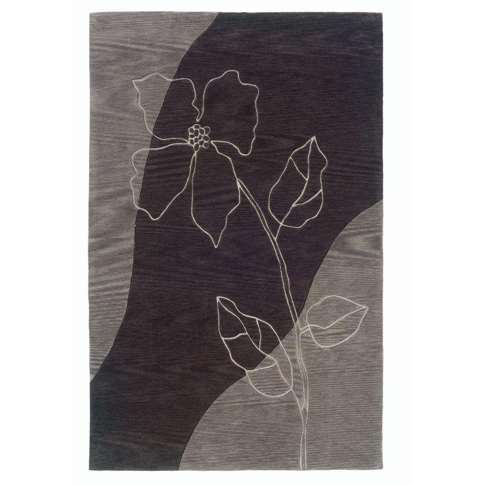 LR Resources Vivid Floral Brown and Grey with a Purple Haze 5 ft. x 7 ft. 9 in. Indoor Area Rug-DISCONTINUED