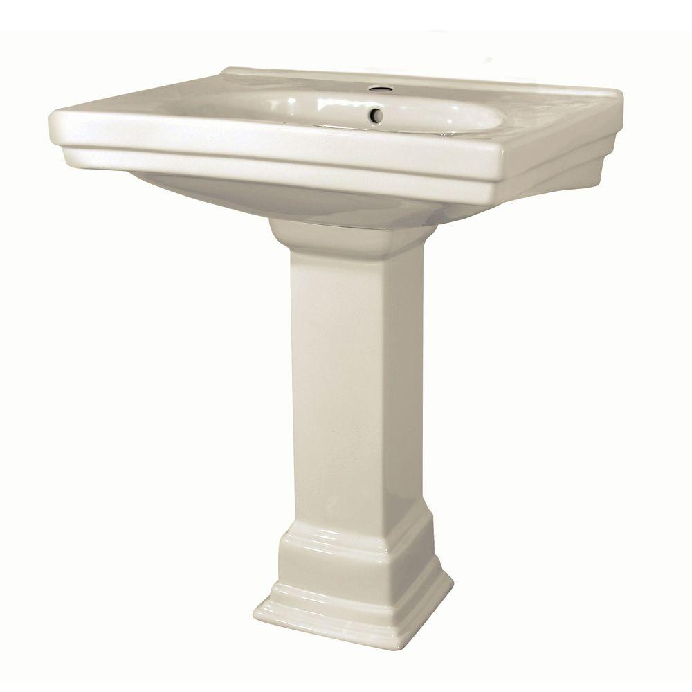 Foremost Structure Vitreous China Pedestal Bathroom Basin Combo in Biscuit
