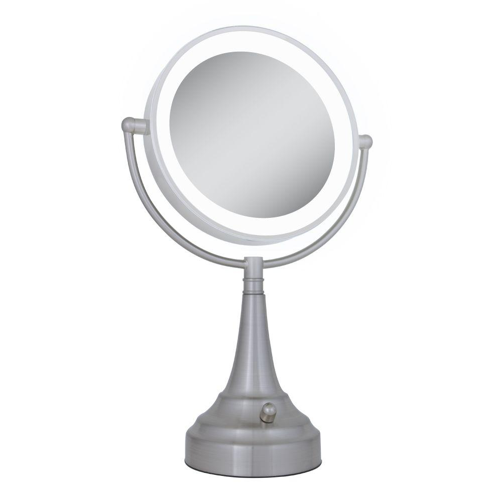 Zadro LED Lighted 10X/1X Round Vanity Mirror in Satin Nickel-DISCONTINUED