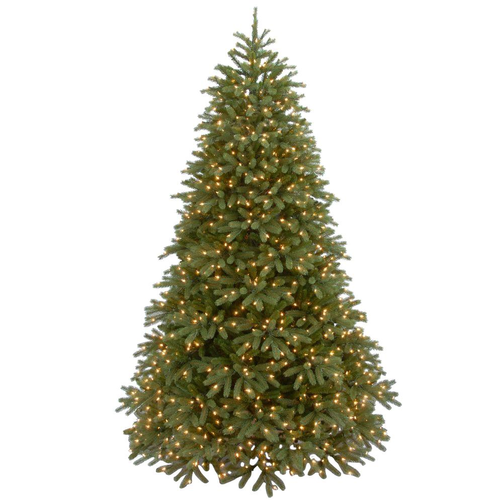 7-1/2 ft. Feel Real Jersey Fraser Medium Fir Hinged Artificial Christmas Tree with 1000 Clear Lights, Greens